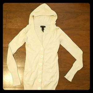 Button down sweater with hood